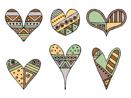 Set of vector hand drawn decorative stylized childish hearts. Doodle style, graphic illustration. Ornamental cute hand drawing in brown, green colors. Series of doodle, cartoon, sketch illustrations.