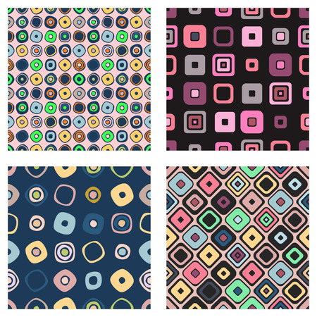 ethno: Set of seamless vector geometrical patterns. Endless background with hand drawn ornamental squares, circles. Graphic vector illustration with ethnic tribal motifs. Repeat print for cover, fabric, wrapping.