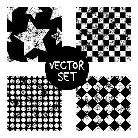 attrition: Set of vector seamless patterns Creative geometric black and white backgrounds with squares,stars,circles.Texture with attrition, cracks and ambrosia. Old style vintage design. Graphic illustration. Illustration