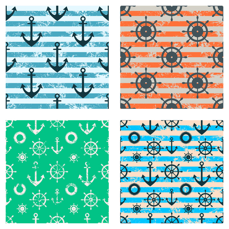 attrition: Set of vector seamless patterns. Steering wheel, life preserver, anchor, rope. Creative geometric backgrounds, nautical theme. Graphic illustration with attrition, cracks and ambrosia.