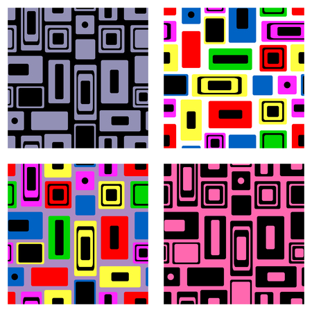 Set of seamless vector geometrical patterns. Endless colorful and black, white backgrounds with squares and rectangles. Graphic illustration. Template for cover, fabric, wrapping, print.