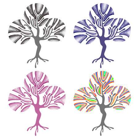 Vector set of hand drawn illustrations, decorative ornamental stylized tree. Graphic illustrations isolated on the white background. Decorative artistic ornamental hand drawing silhouette.