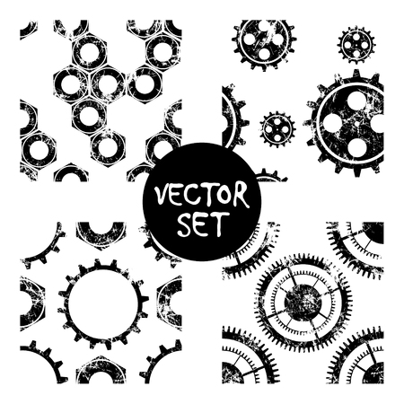 attrition: Set of vector seamless patterns with mechanism of watch. Creative geometric black,white grunge backgrounds with gear wheel. Texture with cracks, ambrosia, scratches, attrition. Graphic illustration. Illustration