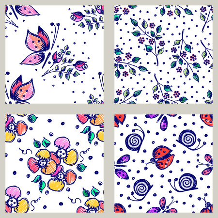 peon: Vector set of seamless floral pattern with butterflies, ladybugs, flowers, leaves, decorative elements Hand drawn contour lines and strokes Doodle sketch style, graphic vector drawing illustration