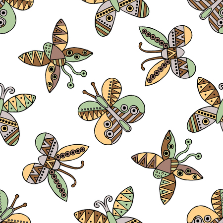 child's: Vector hand drawn seamless pattern, decorative stylized childish butterflies. Doodle style, tribal graphic illustration Cute hand drawing in vintage colors. Series of doodle, cartoon, illustrations Illustration