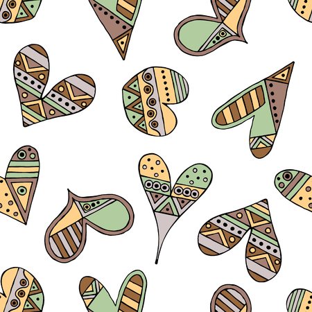 child's: Vector hand drawn seamless pattern, decorative stylized childish hearts. Doodle style, tribal graphic illustration Cute hand drawing in vintage colors. Series of doodle, cartoon, sketch illustrations