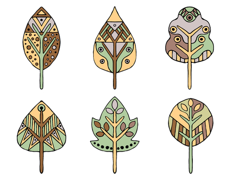 Set of vector hand drawn decorative stylized vintage brown childish leaves. Doodle style, graphic illustration. Ornamental cute line drawing. Series of doodle, cartoon, sketch illustrations.