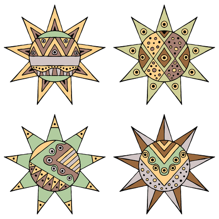 Set of vector hand drawn decorative stylized vintage brown childish tribal sun with lights. Doodle style, tribal graphic illustration. Ornamental cute line drawing. Series of doodle, cartoon, sketch illustrations. Illustration