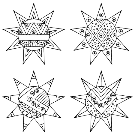 child's: Set of vector hand drawn decorative stylized black and white childish tribal sun with lights. Doodle style, graphic illustration. Ornamental cute line drawing. Series of doodle, cartoon, sketch illustrations.