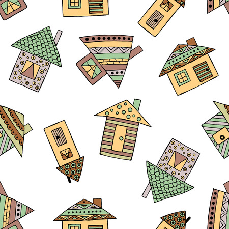 child's: Vector hand drawn seamless pattern, decorative stylized childish houses Doodle style, graphic illustration Ornamental cute hand drawing in brown colors. Series of doodle, cartoon, sketch illustrations
