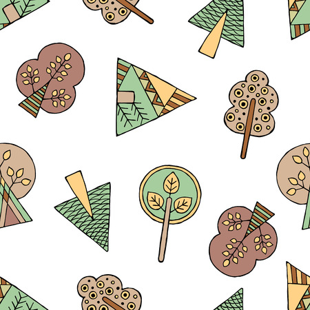 child's: Vector hand drawn seamless pattern, decorative stylized childish trees. Doodle style, tribal graphic illustration. Ornamental cute hand drawing Series of doodle, cartoon, sketch seamless patterns Illustration