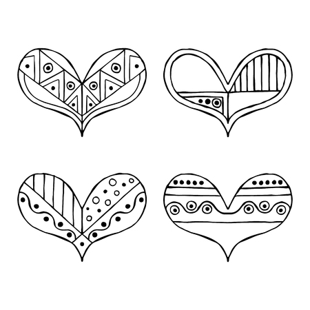 child's: Set of vector hand drawn decorative stylized black and white childish hearts. Doodle style, graphic illustration. Ornamental cute line drawing. Series of doodle, cartoon, sketch illustrations.