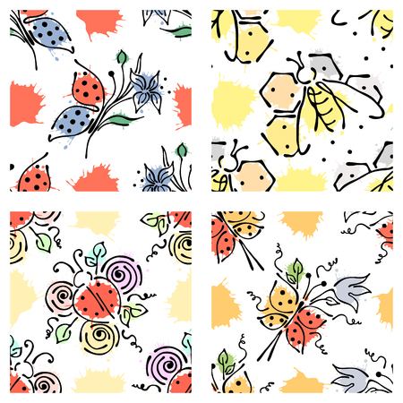 comb: Vector seamless floral pattern with butterfly flowers, leaves, decorative elements, splash, blots, drop Hand drawn contour lines and strokes Doodle sketch style, graphic vector drawing illustration Illustration