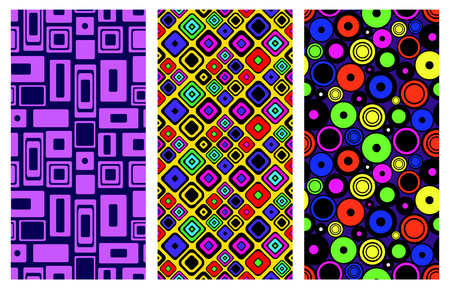 east indian: Set of seamless vector geometrical patterns. Endless background with hand drawn ornamental squares, circles. Graphic vector illustration with ethnic tribal motifs. Print for cover, fabric, wrapping. Illustration