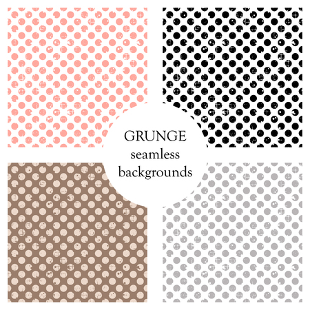 attrition: Set of seamless vector patterns. Geometric polka backgrounds with dots. Grunge texture with attrition, cracks and ambrosia. Old style vintage design. Graphic illustration. Illustration