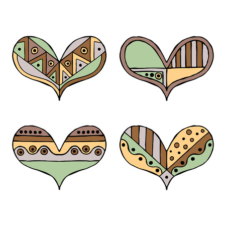 Set of vector hand drawn decorative stylized childish hearts. Doodle style, tribal graphic illustration. Ornamental cute hand drawing in vintage colors. Series of doodle, cartoon, sketch illustrations