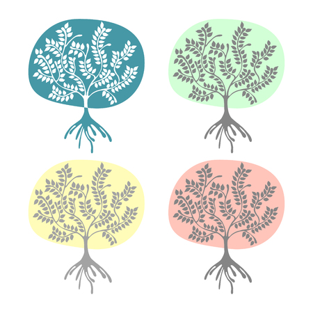 scrubs: Vector set of hand drawn illustrations, decorative ornamental stylized tree. Graphic illustrations isolated on the white background. Decorative artistic ornamental hand drawing silhouette.