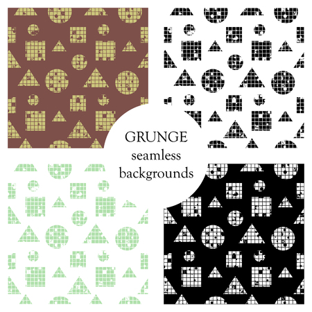 Set of seamless vector abstract pattern. geometric background with circles, squares, triangles. Grunge texture with attrition, cracks and ambrosia. Old style vintage design. Graphic illustration.