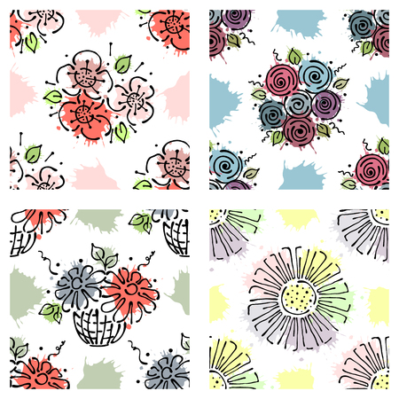 Set of seamless vector hand drawn floral patterns, endless backgrounds Print with flowers, leaves, splash, drops, spot. line drawing, graphic illustration. Print for wrapping, background, fabric