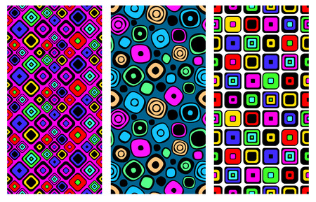 Set of seamless vector geometrical patterns. Endless background with hand drawn ornamental squares, circles. Graphic vector illustration with ethnic tribal motifs. Print for cover, fabric, wrapping. Illustration