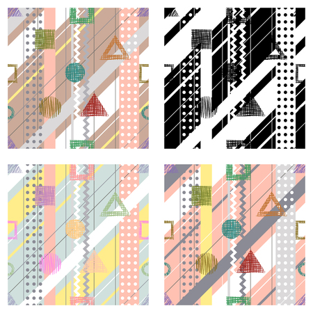 diagonal stripes: Set of seamless vector geometrical abstract patterns with lines, dots, diagonal stripes. Endless backgrounds with different hand drawn geometric figures.