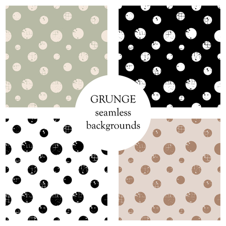 Set of seamless vector patterns. Geometric polka backgrounds with circles. Grunge texture with attrition, cracks and ambrosia. Old style vintage design. Graphic illustration.