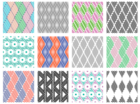 Set of seamless vector geometric colorful and black, white patterns with ornamental elements endless background with ethnic motifs. Graphic vector illustration. Series sets of vector seamless patterns