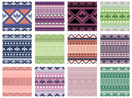 Set of seamless vector geometric colorful patterns with ornamental elements,endless background with ethnic motifs. Graphic tribal illustration. Series- sets of vector seamless patterns. Illustration