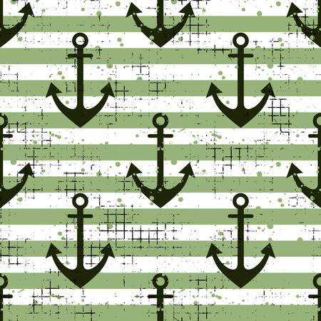 Vector seamless pattern Background with anchor, horizontal lines Creative geometric vintage backgrounds, nautical theme Graphic illustration with attrition, cracks and ambrosia Çizim