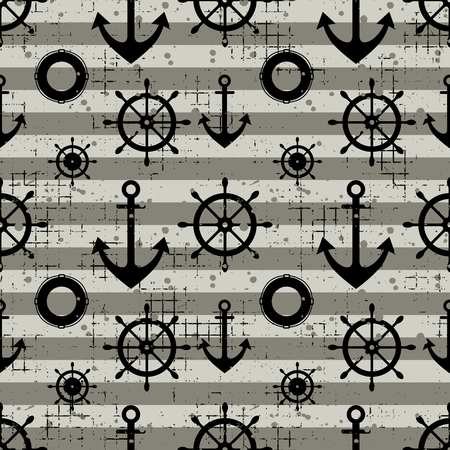 Vector seamless pattern Steering wheel, life preserver, anchor, horizontal lines Creative geometric vintage backgrounds, nautical theme Graphic illustration with attrition, cracks and ambrosia