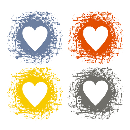 Set of vector graphic grunge illustrations of heart, sign with ink blot, brush strokes, drops isolated on the white background. Series of artistic illustration with splash, blots and brush strokes.