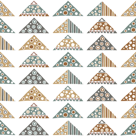 east indian: Seamless vector pattern. Geometrical background with hand drawn decorative tribal elements in vintage brown colors. Print with ethnic, folk, traditional motifs. Graphic vector illustration.