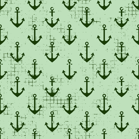 Vector seamless patterns Background with anchor Creative geometric vintage backgrounds, nautical theme Graphic illustration with attrition, cracks and ambrosia