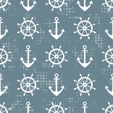 Vector seamless pattern Steering wheel, life preserver, anchor, Creative geometric vintage backgrounds, nautical theme Graphic illustration with attrition, cracks and ambrosia Çizim