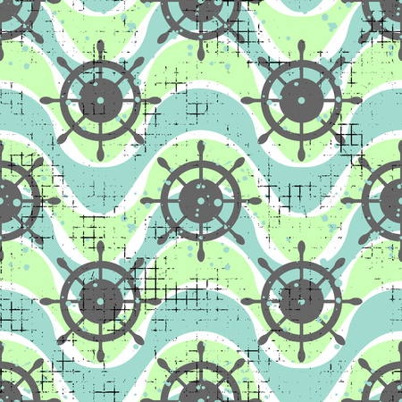 Vector seamless patterns Background with steering wheel, waves Creative geometric vintage backgrounds, nautical theme Graphic illustration with attrition, cracks and ambrosia Vektoros illusztráció