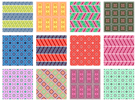 east indian: Set of seamless vector geometric colorful patterns with ornamental elements,endless background with ethnic motifs. Graphic vector illustration. Series- sets of vector seamless patterns.