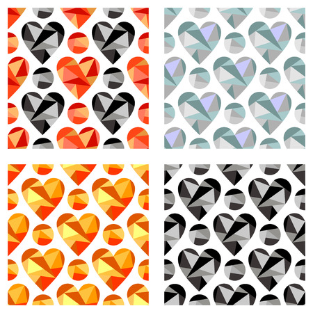 Set of vector seamless patterns with hearts. Symmetrical backgrounds. Polygonal design. Geometric triangular origami style, graphic illustration. Series of Love Seamless Patterns.