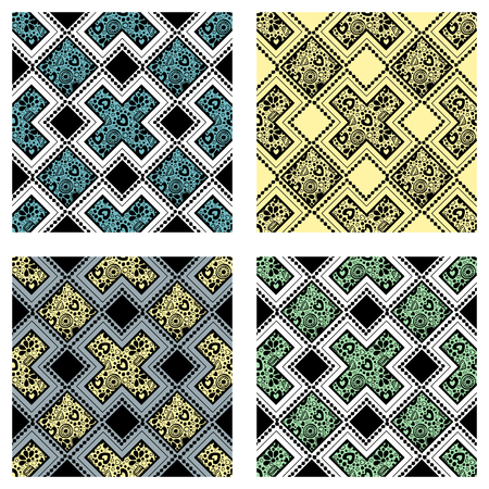 east indian: Set of seamless vector decorative hand drawn patterns. ethnic endless background with ornamental decorative elements with traditional etnic motives, tribal geometric figures. Illustration