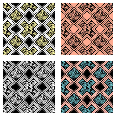 ethno: Set of seamless vector decorative hand drawn patterns. ethnic endless background with ornamental decorative elements with traditional etnic motives, tribal geometric figures. Illustration