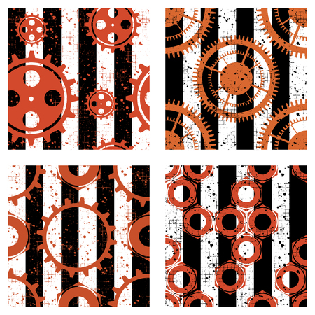 attrition: Set of vector seamless patterns with mechanism of watch, metal parts, screw nuts. Creative geometric grunge backgrounds with gear wheel. Texture with cracks, ambrosia, scratches, attrition Illustration