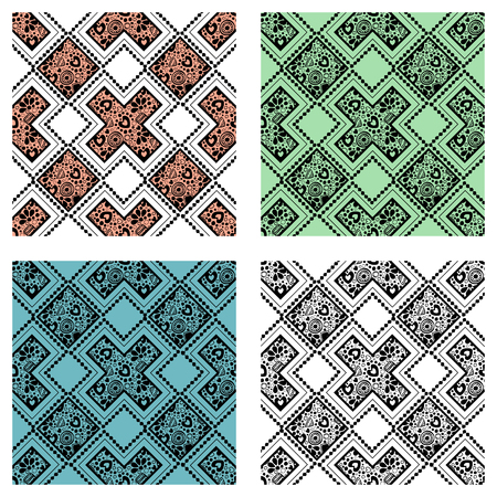 india culture: Set of seamless vector decorative hand drawn patterns. ethnic endless background with ornamental decorative elements with traditional etnic motives, tribal geometric figures. Illustration