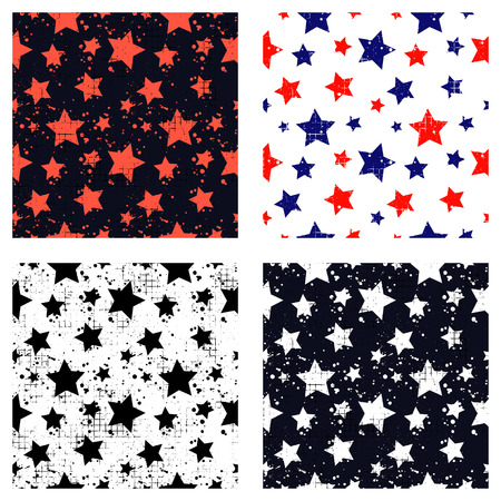 attrition: Set of vector seamless patterns Creative geometric backgrounds with stars, drops, blots. Texture with attrition, cracks and ambrosia. Old style vintage design. Graphic illustration.