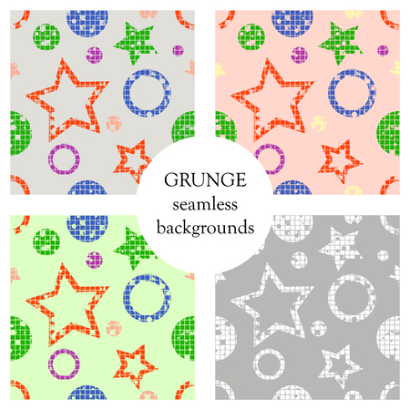 scratches: Set of seamless vector patterns. geometrical backgrounds with geometric figures, forms, stars, circles. Grunge texture with attrition, cracks and ambrosia. Old style vintage design. Graphic illustration. Illustration