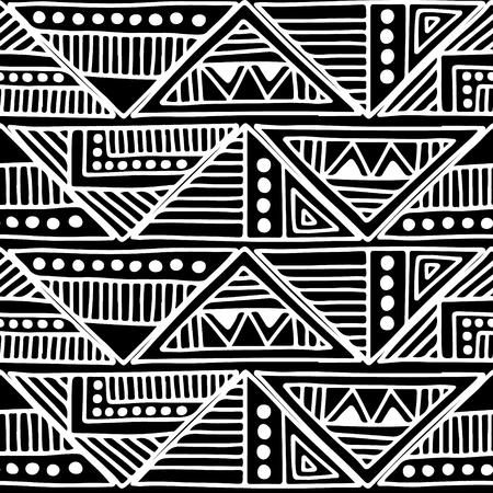east indian: A Seamless vector pattern. Black and white geometrical background with hand drawn decorative tribal elements. Print with ethnic, folk, traditional motifs. Graphic vector illustration. Illustration
