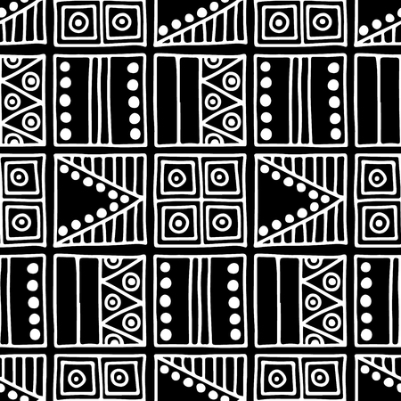 A Seamless vector pattern. Black and white geometrical background with hand drawn decorative tribal elements. Print with ethnic, folk, traditional motifs. Graphic vector illustration. Illustration