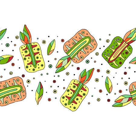 Seamless vector hand drawn childish pattern, border with fruits. Cute childlike pineapple with leaves, seeds, drops. Doodle, sketch, cartoon style background. Line drawing Endless repeat swatch Illustration