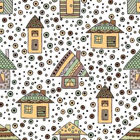 Vector hand drawn seamless pattern Decorative stylized childish houses Doodle style, graphic illustration Ornamental cute hand drawing in brown colors. Series of doodle, sketch illustrations