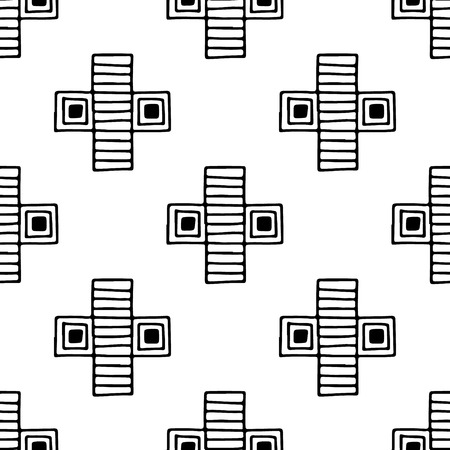east indian: Seamless vector pattern. Black and white geometrical background with hand drawn decorative tribal elements. Print with ethnic, folk, traditional motifs. Graphic vector illustration.