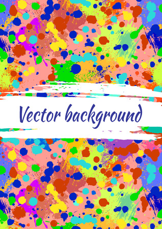 Vector watercolor background with colorful ink blots, splash and brush strokes. Colorful creative artistic template for card, layout, cover. Rainbow colors