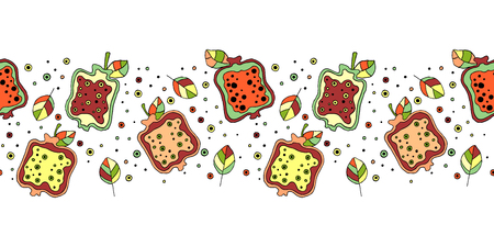 Seamless vector hand drawn childish pattern, border with fruits. Cute childlike pomegranate with leaves, seeds, drops. Doodle, sketch, cartoon style background. Line drawing Endless repeat swatch